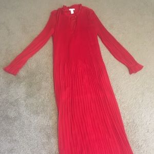 Pleated Long Red Dress by H&M
